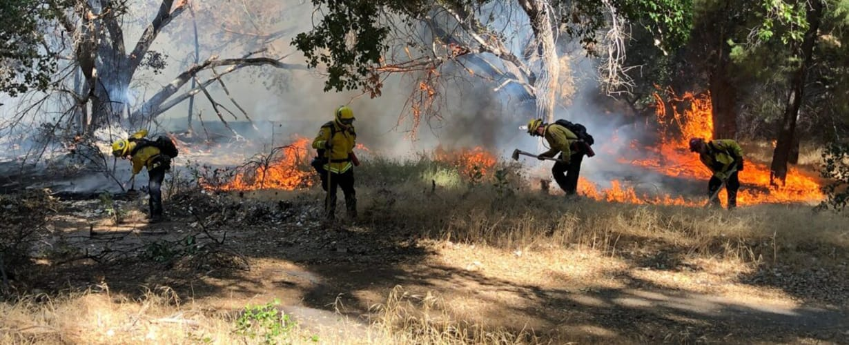 Firefighters battling dry brush burning in California
