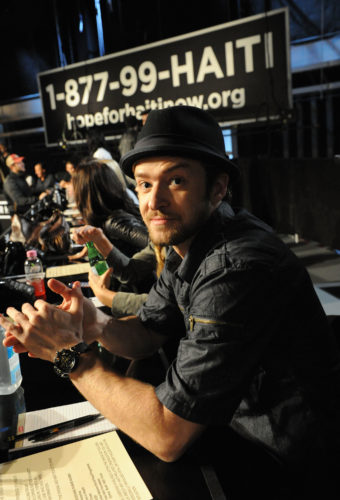 snapshot of Justin Timberlake at a fundraising event for Hope For Haiti Now