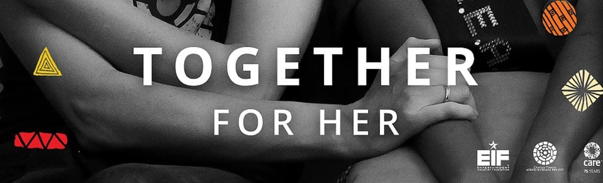 "womens' arms interlocked with ""Together for Her"" superimposed"