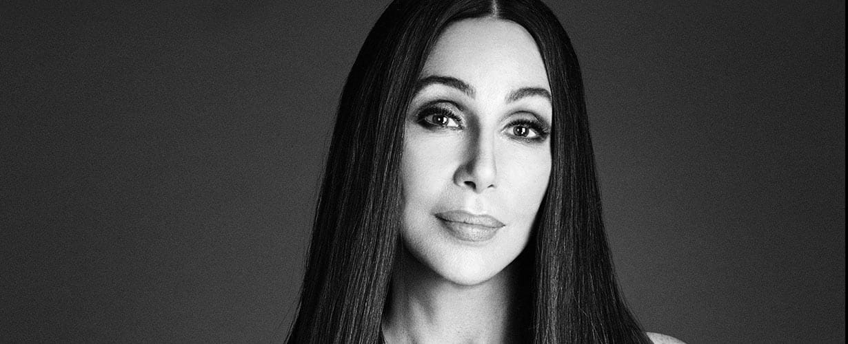 black-and-white portrait of the artist Cher