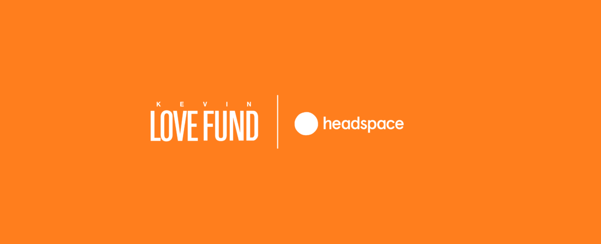 Kevin Love Fund and Headspace logos on an orange background