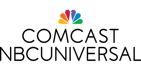 "logo for Comcast NBCUniversal of stylized rainbow peacock feathers above letters spelling ""Comcast NBCUniversal"""