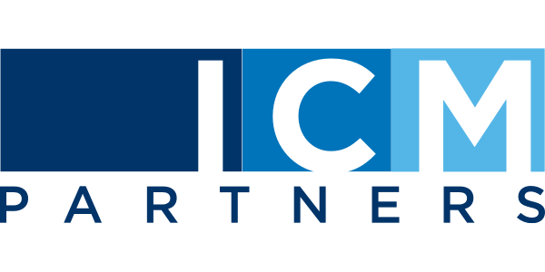 "logo for ICM Partners of letters ""ICM"" in different shades of blue boxes"