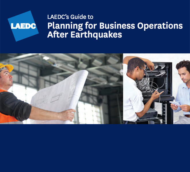 Cover of the LAEDC guide to planning for business operations after earthquakes