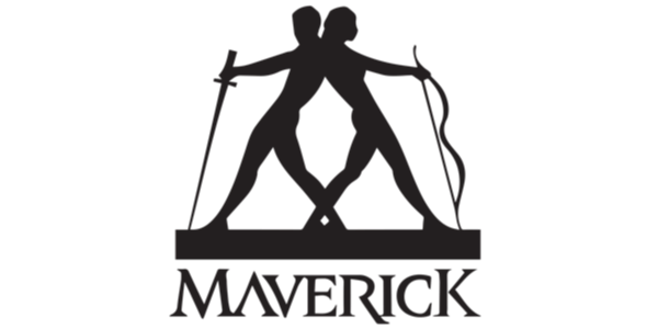 logo for Maverick of silhouettes of two people back-to-back holding a sword and bow