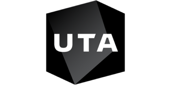 "logo for United Talent Agency of a black irregular shape with letters spelling ""UTA"" in white"