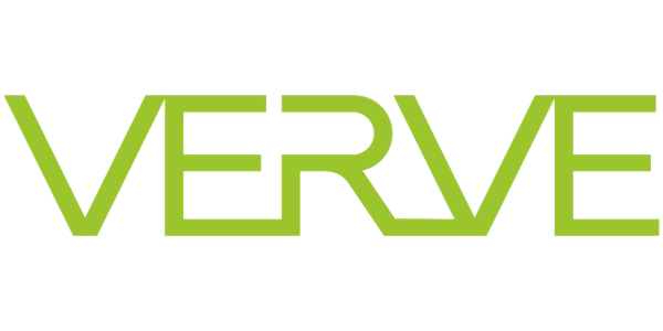"logo of stylized letters spelling ""Verve"" in lime green"