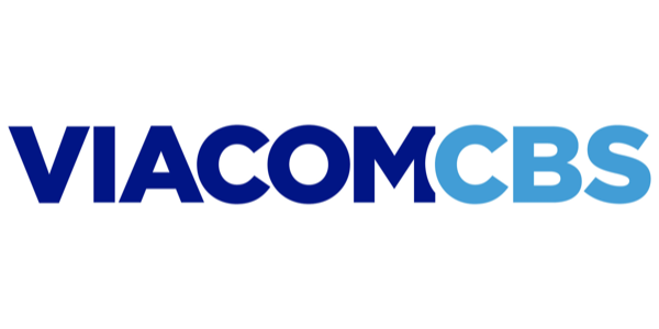 "logo of stylized letters spelling ""Viacom CBS"" in two shades of blue"