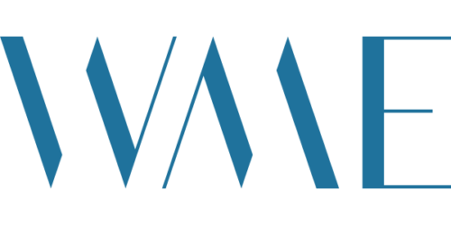 "logo for William Morris Endeavor of stylized letters spelling ""WME"" in blue"