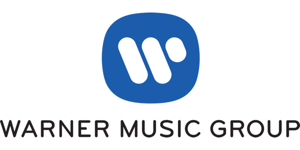 logo for Warner Music Group of three white diagonal lines of varying lengths in a blue oval