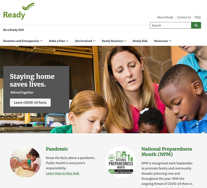 home page of ready.gov